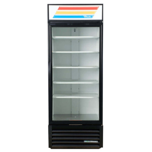 Black Glass Door Refrigerated Merchandiser with LED Lighting 30 Inches True