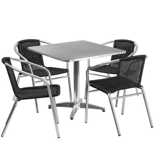 Square Aluminum Indoor Outdoor Table Set with Black Rattan Chairs