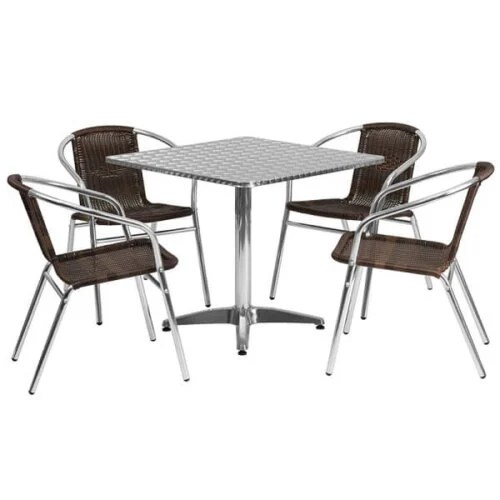 Square Aluminum Indoor Outdoor Table Set with Dark Brown Rattan Chairs