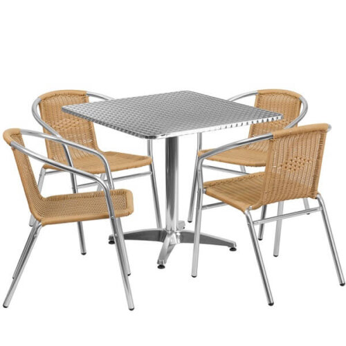 Square Aluminum Indoor Outdoor Table Set with Beige Rattan Chairs
