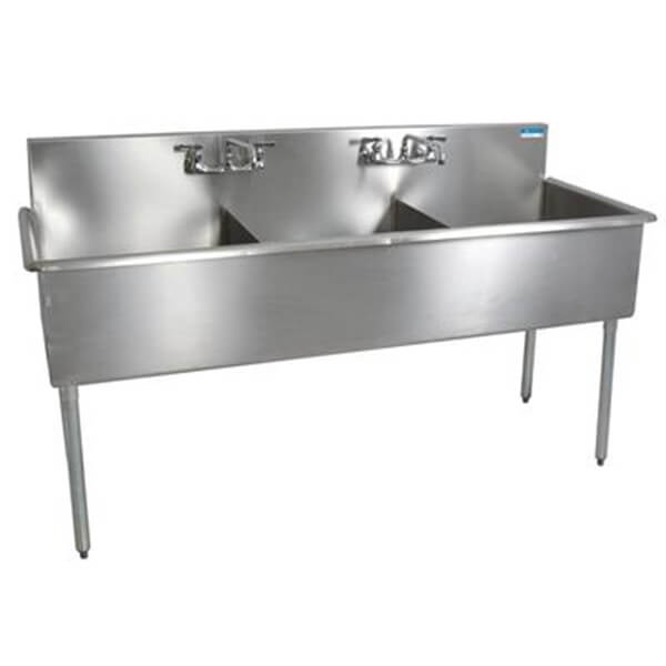 3 Compartment Budget Sink 18x21x12D Bowls T-430 SS