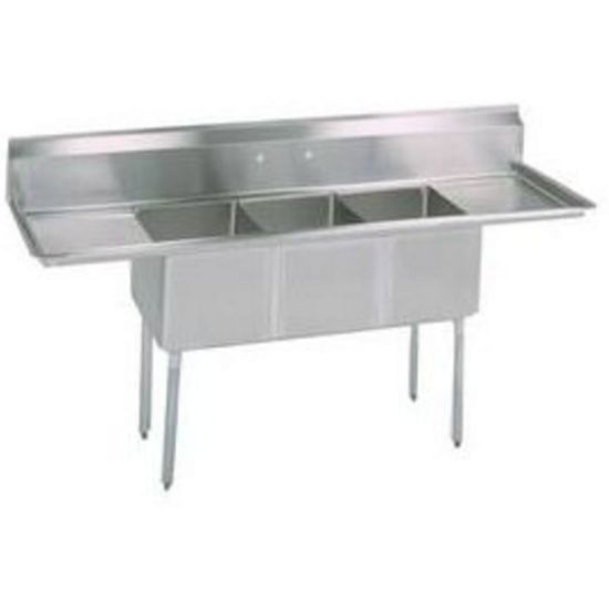 bk resources bks 3 2030 14 24t 108 x36 three compartment 16 gauge stainless steel sink