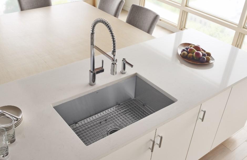 moen plumbing fixtures at kitchen