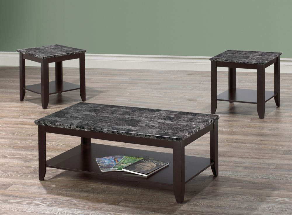 if 2025 3pc grey marble coffee table set with dark brown legs