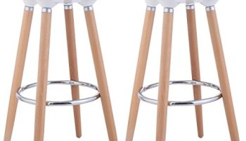Costway Set Of 2 Abs Eames Style Chair Bar Stool Modern Metal