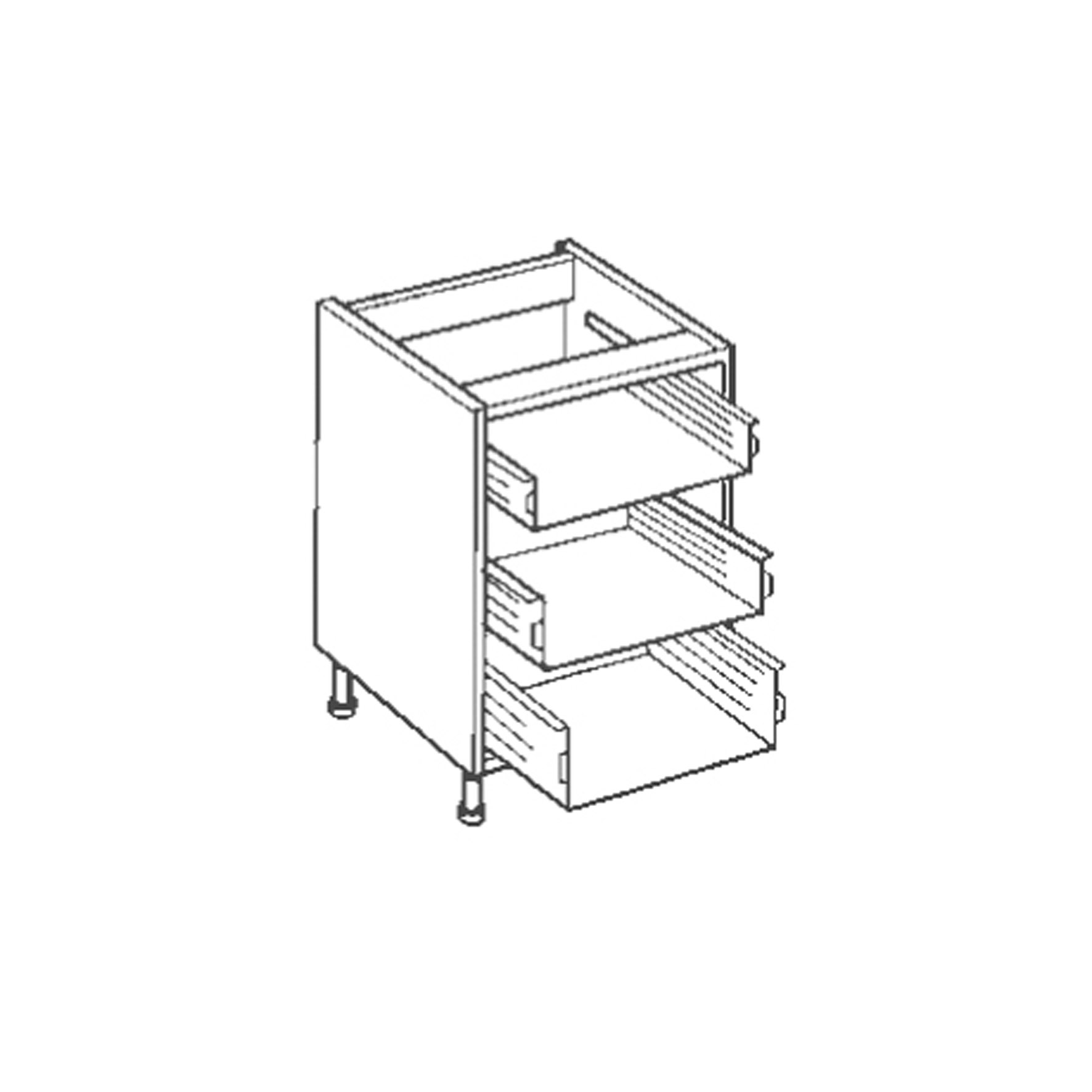 3 Drawer Base Unit Kitchen Carcasses Cabinets Made To Measure
