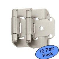 "Amerock BP7550-G10 Satin Nickel Self-Closing Partial Wrap Cabinet Hinge 1/2"" Overlay, 10 Pair Pack"