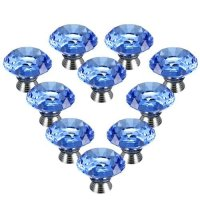 Dealglad 10pcs 40mm Blue Crystal Glass Cupboard Wardrobe Cabinet Door Drawer Kitchen Knobs Handle