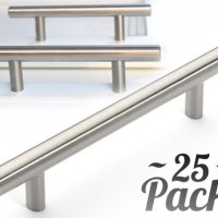 "25pcs Bar Handle Pull: Kitchen Cabinet Hardware | Fine-Brushed Satin Nickel finish | Euro Style | 3"" Hole Center"