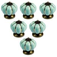 YDO(TM) Pumpkin Kitchen Cabinet Knobs Vintage Ceramic Handle 6pcs (Light Blue)