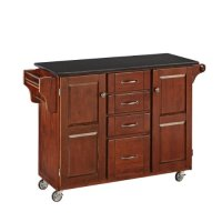 Home Styles 9100-1074 Create-a-Cart 9100 Series Cabinet Kitchen Cart with Black Granite Top, Medium Cherry Finish