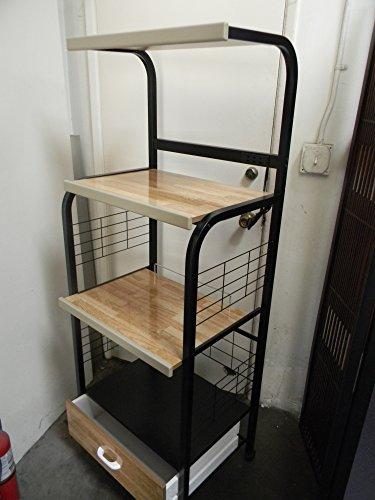 Black Finish Kitchen Microwave Cart w// Electric Socket