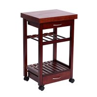 "HomCom 19"" Rolling Wooden Storage Cart Kitchen Trolley w/ Drawers and Wine Rack"