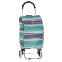 Typhoon Heavy Duty Folding Grocery Cart and Rolling Shopping Trolly with Insulated Compartment, Purple Stripe Pattern, 9 Gallon Capacity