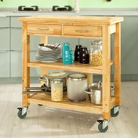 SoBuy FKW24-N (natual), Rubber Wood Kitchen Trolley Cart with Two Drawers & Shelves, Kitchen Storage Trolley, L80cm(31.5in)xW40cm(15.7in)xH90cm(35.4in)