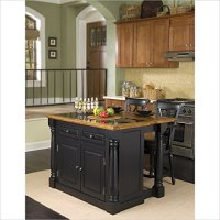 Home Styles Monarch Granite Kitchen Island and Bar Stools 3 Piece Set