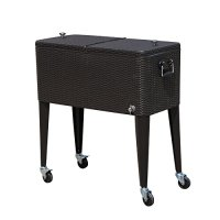 Outsunny B2-0013 Rolling Ice Chest Portable Patio Party Drink Cooler Cart, 80-Quart, Brown Wicker Pattern