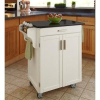 Home Styles Cuisine Kitchen Cart, White with Black Granite Top