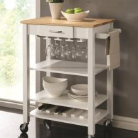 Chefs Helper white finish wood kitchen island cart with natural finish wood top and casters