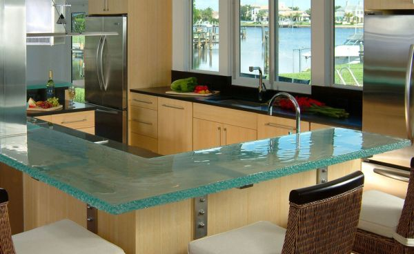 Glass kitchen counter top