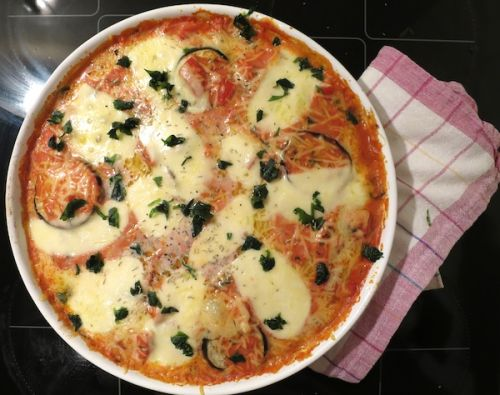 Überbackene Auberginen mit Mozzarella
