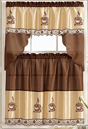 coffee embroidered kitchen curtain tiers & swag set brown-beige - 60×36 & 30×36livedeco