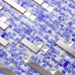 SALE-11SF-interlocking-blue-and-white-glass-tile-floral-mosaic-art-new-font-b-design-b