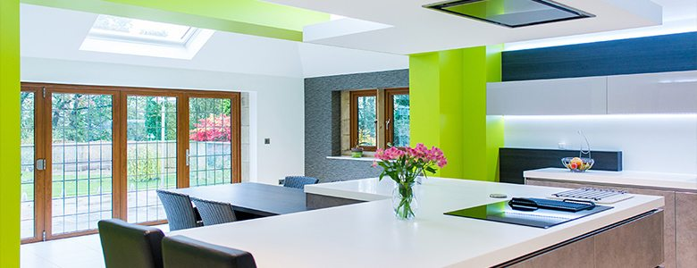 green coloured modern day kitchen