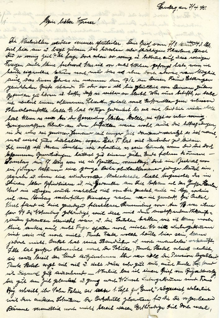 Letter from Else Weissenberg to her son, Werner, date 7th April 1940; page one