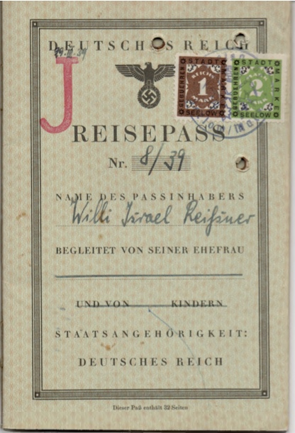 Kitchener camp, Willi Reissner, passport, page 1 1939