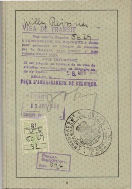 Kitchener camp, Willi Reissner, passport, page 7, 1939