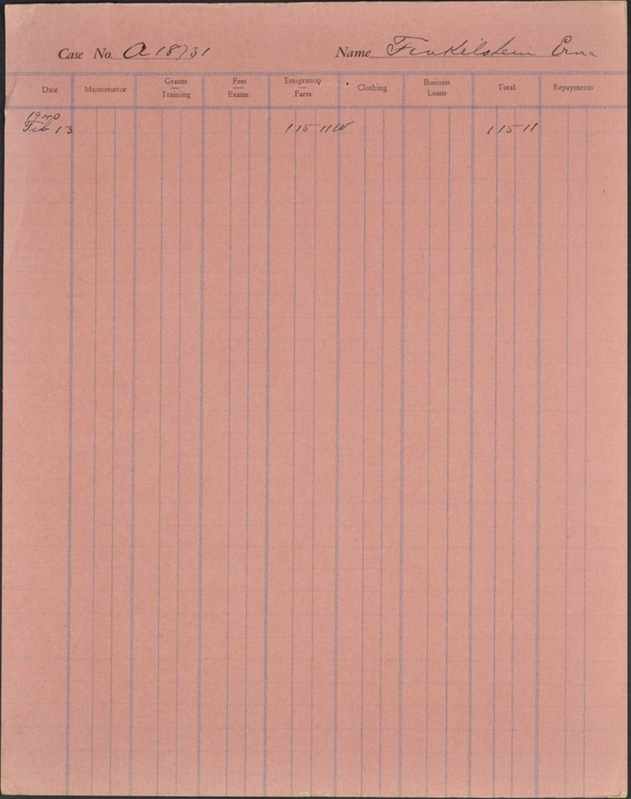 Kitchener camp, Erna Finkelstein, case file, CBF, 13 February 1940