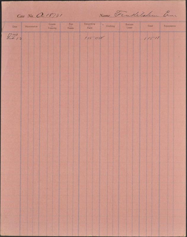 Kitchener camp, Erna Finkelstein, case file, CBF, 13 February 1940