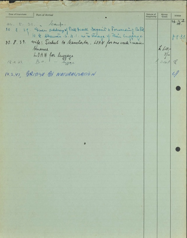 Kitchener camp, Herbert Finkelstein, German Jewish Aid form, 14 February 1947, page 2
