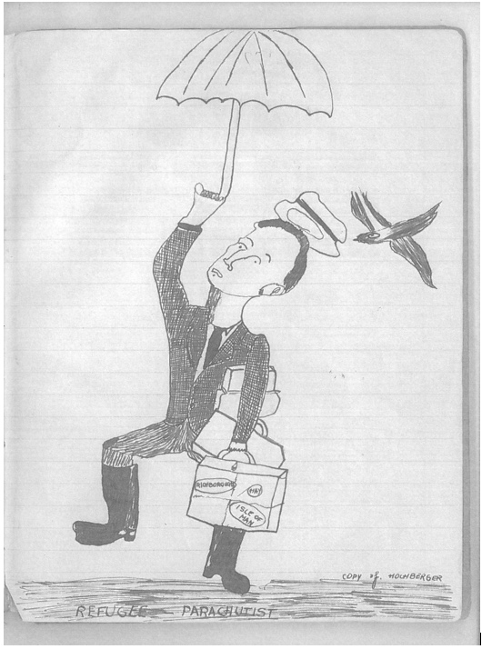 Moshe Chaim Gruenbaum, sketch, Refugee parachutist