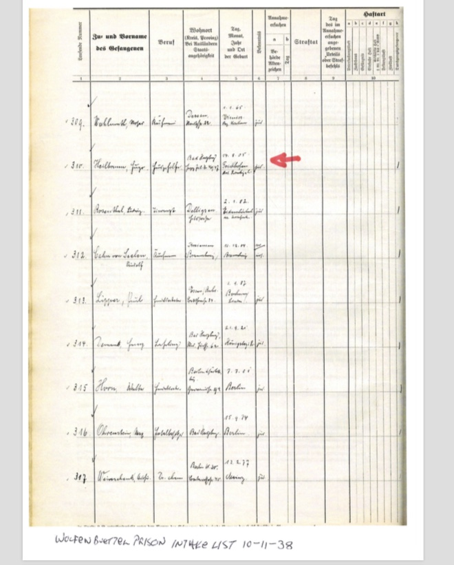 Kitchener camp, Hugo Heilbrunn, Prison list
