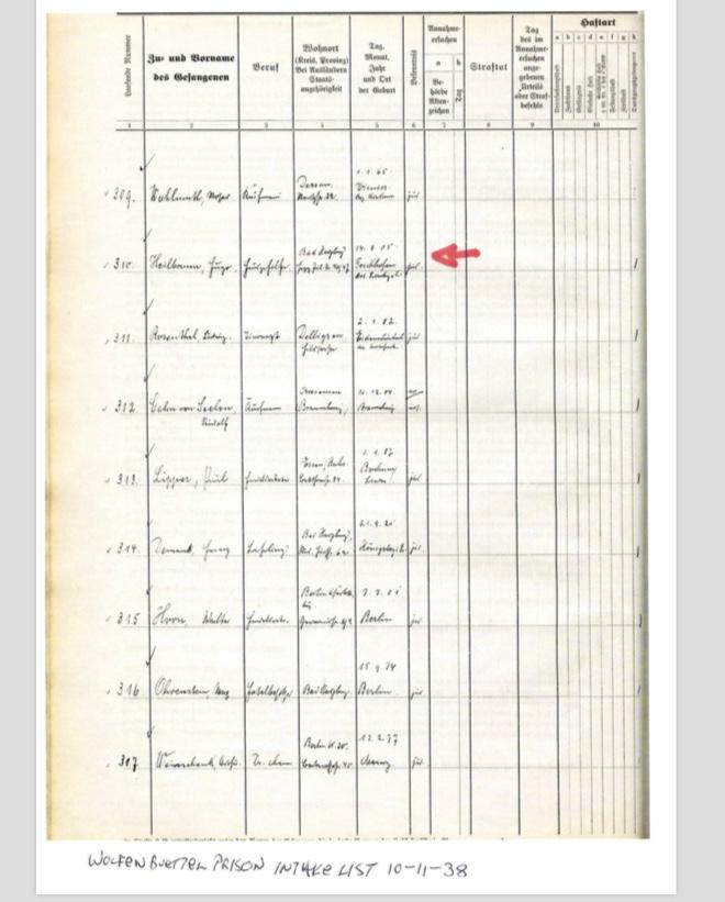 Kitchener camp, Hugo Heilbrunn, Prison list