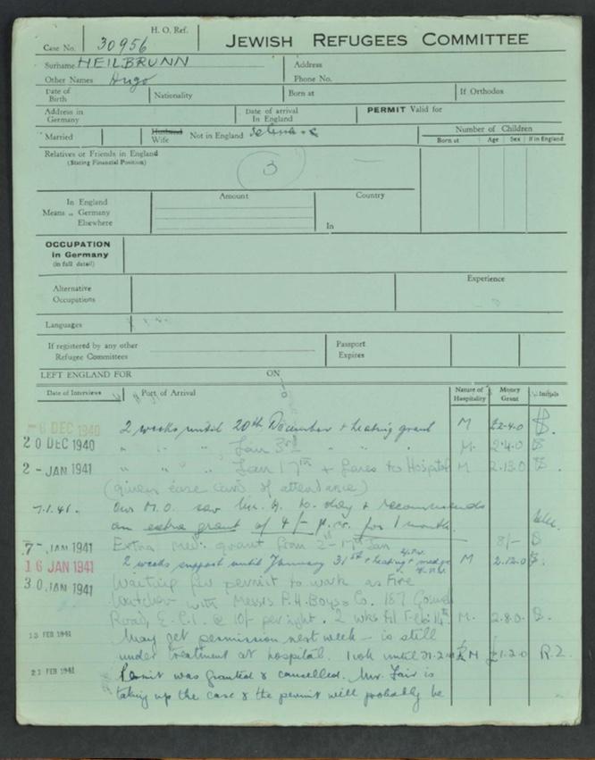 Kitchener camp, Hugo Heilbrunn, German Jewish Aid Committee form, page 5