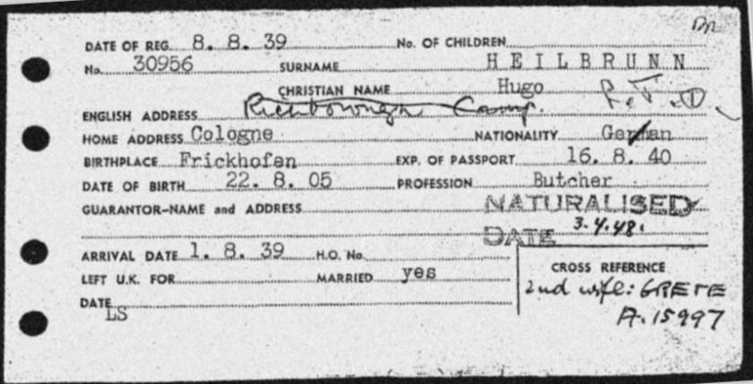 Kitchener camp, Hugo Heilbrunn, registration card