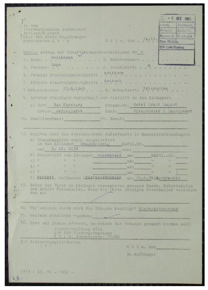 Richborough camp 1939, Hugo Heilbrunn, ITS file 1955