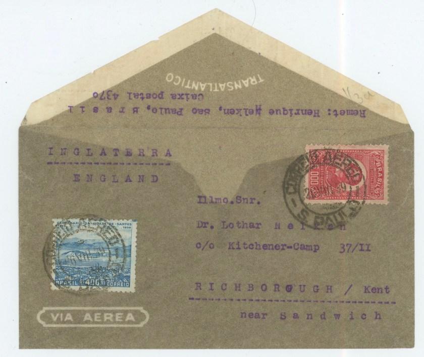 Richborough transit camp 1939, Lothar Nelken, front of envelope