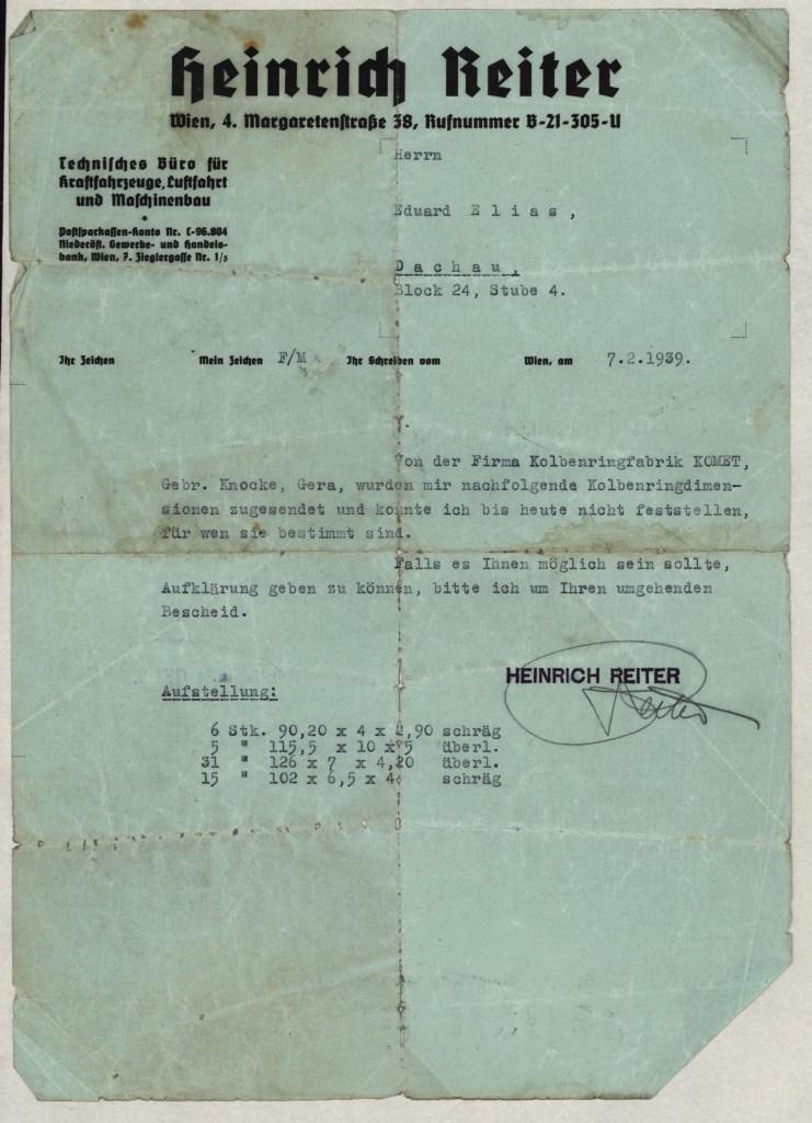 Richborough camp, Eduard Elias, letter to Dachau, 7 February 1939