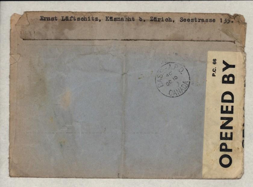 Eduard Elias, Envelope, Switzerland to Canada 1940