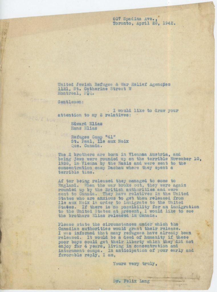 Canada, Eduard Elias, Letter 20 April 1942, ORT, Bloomsbury House, Camp 41 Ile aux Noix