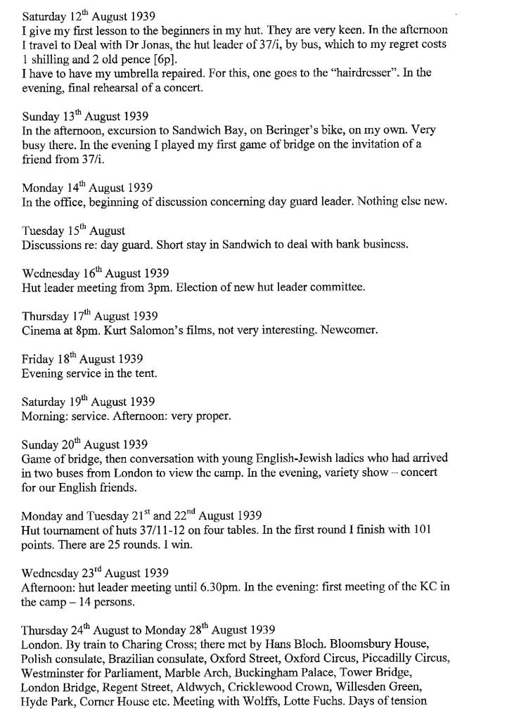 Lothar Nelken, Kitchener Camp diary, 1939 to 1940, page 6, 12 August to 24 August 1939