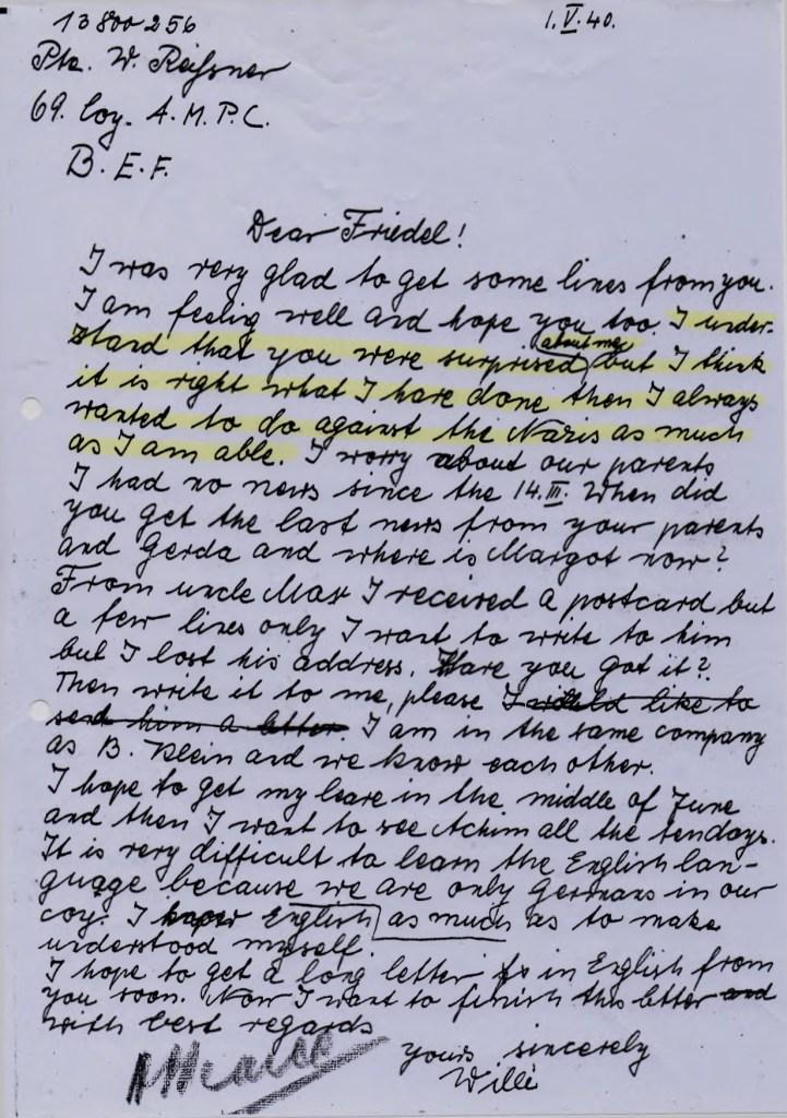 Richborough transmigration camp, Willi Reissner, Letter, 1 April 1940