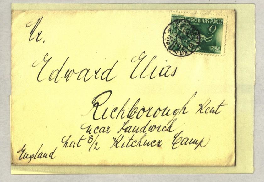 Kitchener camp, Eduard Elias, Envelope from Budapest to Richborough camp