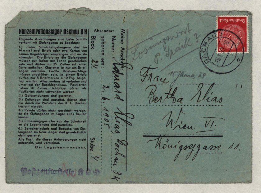 Eduard Elias, Dachau cover, Letter, 15 January 1939