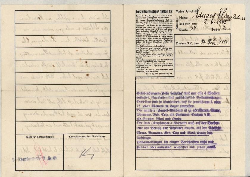 Eduard Elias, Dachau letter, 27 February 1939_001
