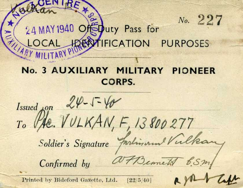 Kitchener camp 1939, Ferdinand Vulkan, Pioneer Corps, Off Duty Pass, 24 May 1940